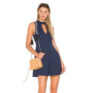 BCBG Navy Keyhole Cutout Cocktail Dress